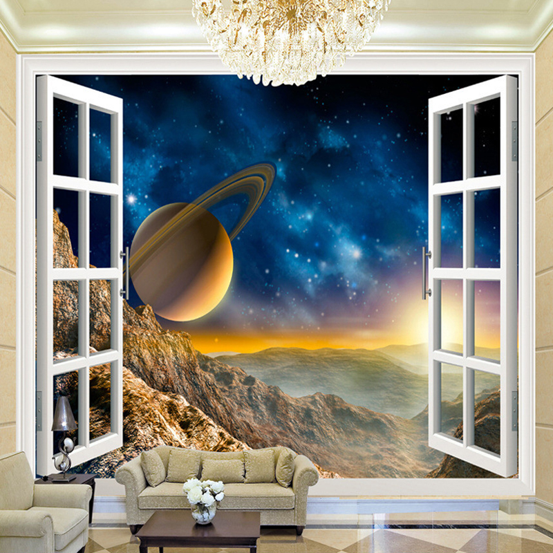 Customized 3D Space Window View Planet Wall Mural 3D Room