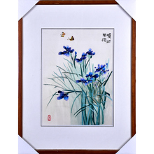 Suzhou embroidery  4 silk exquisite butterfly orchid pure hand porch bedroom decoration painting