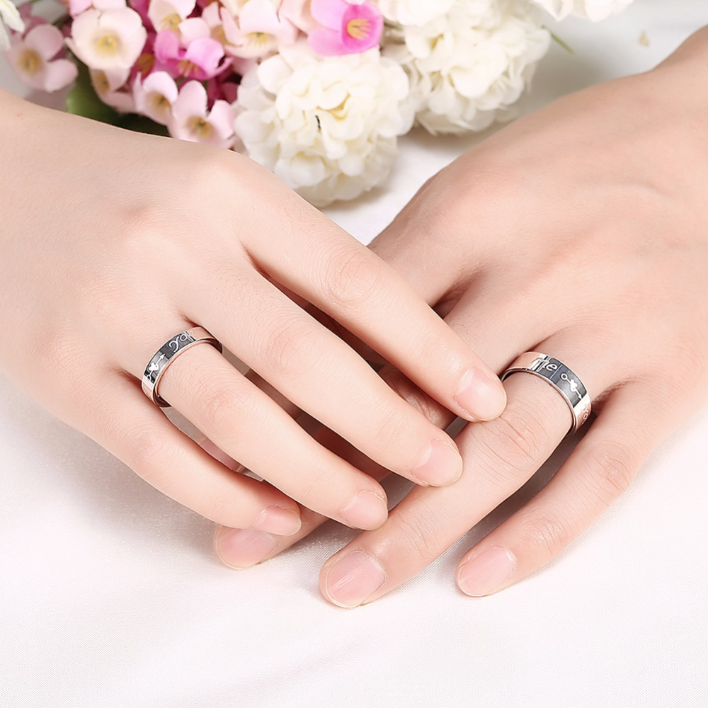 MEGREZEN Paired Wedding Rings For Men Women Stainless Steel ...