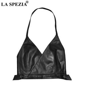 LA SPEZIA Women Waistcoat Black Genuine Leather Sleeveless Vest Ladies With Belt Backless Halter Female Club Wear Spring Gilet