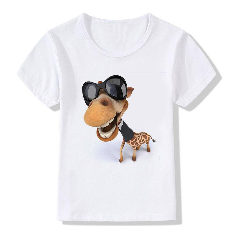 Kinderen Tops Tees Cartoon Grappige Big Head Giraffe met zwarte - Kinderkleding - Foto 2