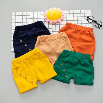 Spodenki dziecięce chłopięce BibiCola dziecięce letnie modne spodnie bawełniane dziecięce chłopięce dziewczęce solidne spodenki plażowe dziecięce ubrania dla 1-4Y tanie i dobre opinie COTTON Poliester Szorty Pasuje prawda na wymiar weź swój normalny rozmiar Chłopcy SCF145 Na co dzień Elastyczny pas