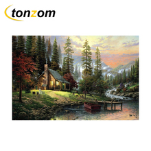 RIHE River Cabin Painting By Numbers DIY Forest Drawing Handwork On Canvas Landscape Oil Art Coloring Home Decor Gift