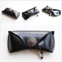 Vazrobe Handmade Leather Sunglasses Box Glasses Scratch Protection Bag Retro Anti pressure Cases Eyeglasses Protective
