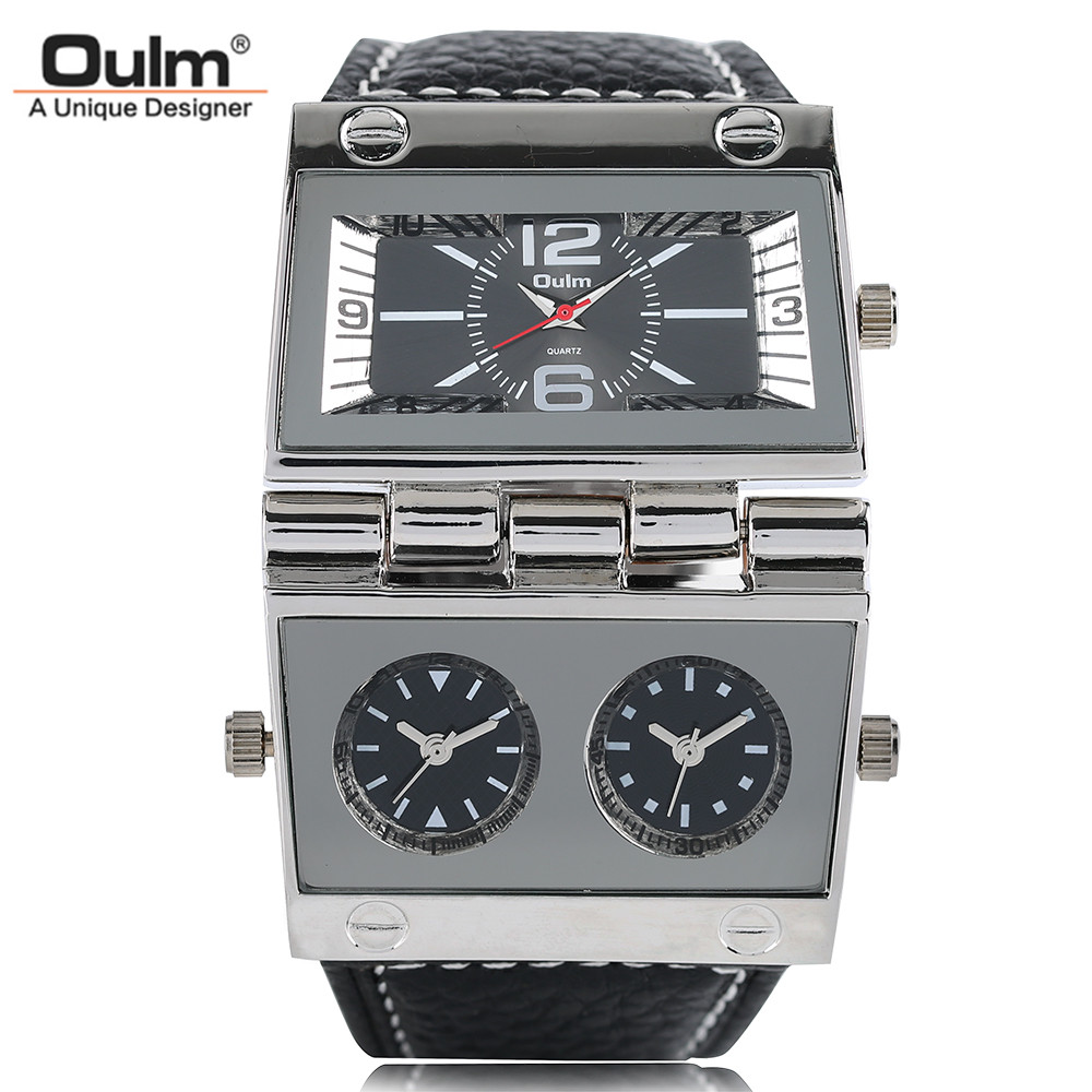 OULM Two Time Zone Men Wrist Watch Leather Band Fashion Special Design Army Analog Male Sport Quartz Watches Gift 2017 New thermometer watch compass watch two time zone display dual movt quartz watch for men oulm 1349