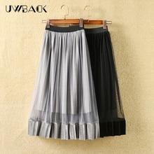 2019 New Brand Fashion Designer Sexy Style Pleated Skirt Women Mesh Chiffon Long High Quality Nice designs DB144