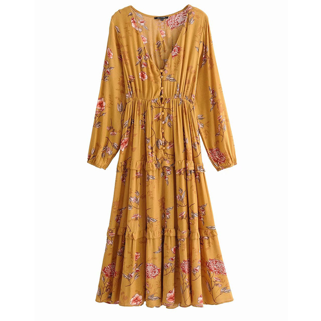 0668defe553d7 Jastie Boho chic Floral Print Midi Dress Women V-Neck Long Sleeve Autumn  Dresses Button Front Elastic Waist Casual Beach Dress