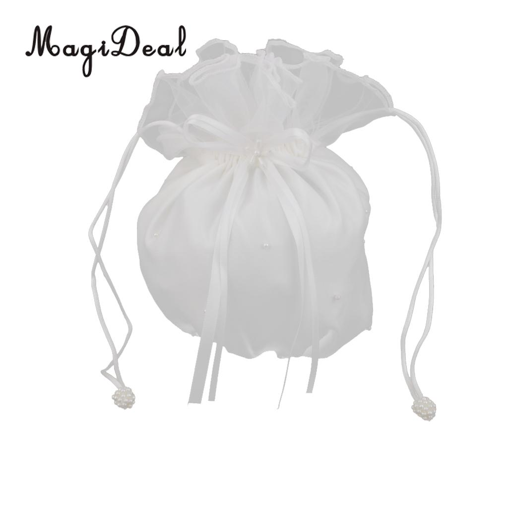 MagiDael 1Pc Ivory Romantic Satin Favor Gift Candy Bag Pouch for Wedding Bridal Bag Flower Girl Baby Shower Handbag Dolly Decor