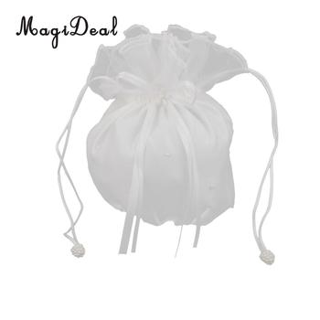 106d5d8b87d3 MagiDael 1Pc Ivory Romantic Satin Favor Gift Candy Bag Pouch for Wedding  Bridal Bag Flower Girl Baby Shower Handbag Dolly Decor