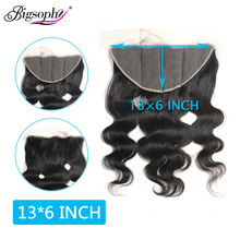 Body Wave Hair 13x6 Lace Frontal Closure Peruvian 100% Remy Human With Baby Natural Bigsophy