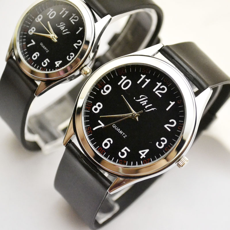 New fashion simplified Korean version genuine leather belt couple quartz watch male and female student digital women men clock(China)