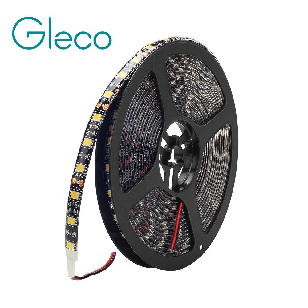 Black FPCB DC12V LED strip 5050 60LED/m,5m/lot flexible light IP20 / IP65 Waterproof LED STRIP RGB, White, Warm white 5m 300pcs 5050 smd leds 72w 2000lm ip65 waterproof highlight decoration black strip lamp warm white light
