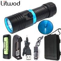 Litwod Z30D68 5000LM XM-L2 buceo 80 metro LED buceo linterna lámpara luz stepless atenuación camping Lanterna