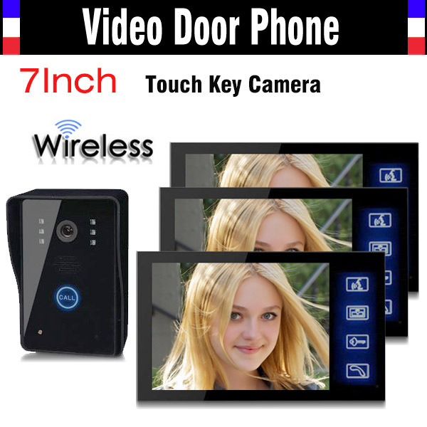 купить 1V3 Wireless Video Door Phone Doorbell Intercom System 7 Inch Touch Key IR Night Vision Camera Rain Proof 1 Camera 3 Monitors недорого