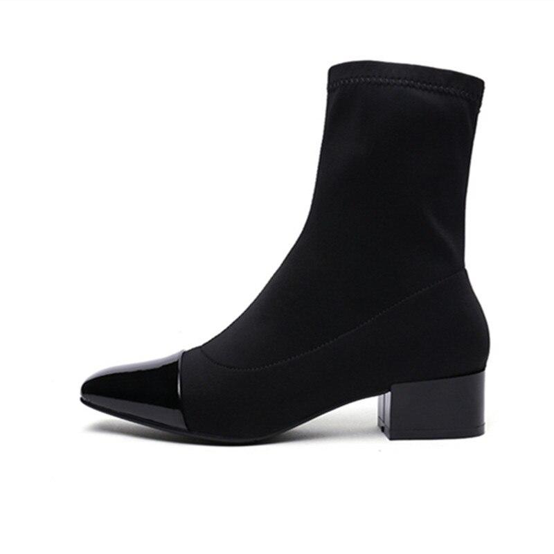 ENMAYER printemps chaussures à talons hauts femme bout carré talon carré plate forme femmes chaussures décontractées à lacets datant solide peu profonde dame chaussures - 4
