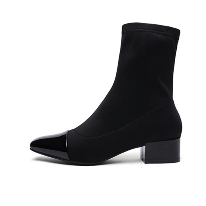 Sapatos de trabalho pesado, saltos baixos, profissional de moda, casual dating - 4