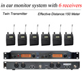 6 Pack Receivers +  Wireless In Ear Monitor System Twin Transmitter, Professional Wireless Microphone SR 2050 IEM