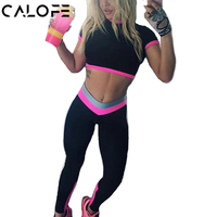 CALOFE Two Piece Sport Suit Womens Patchwork Short Sleeve Crop Top And Sexy Jogging Set Fitness