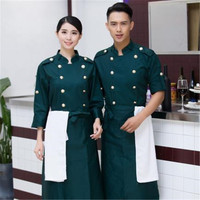 High Quality Double Row of Holes Winter Long Sleeve Hotel Restaurant Kitchen Men Chef Uniform Chef Jacket Cook Clothes CP04