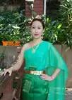 Thailand der traditionellen stil grün Dai frauen kleidung der gruß kleid spritzwasser Festival Kostüm sleeveless Outfit - 4