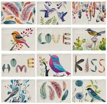 42x32cm The Painting Bird Flower Placemats Cotton Linen Feather Dreamcatcher Printed Square Pattern Decorative Table Mats(China)