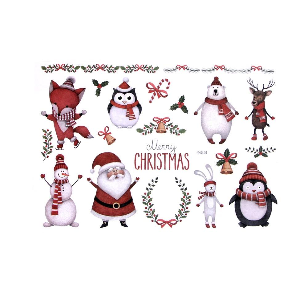 1Sheet Christmas Sticker Design Of Kawaii Santa Claus/Elk/Snowman/Christmas Tree/Wreath For Childern Sketching Album Stationery