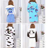 Robe Femme Autumn Winter Long Sleeve Hooded Cute Animal Bathrobe Sexy Loose Sleepwear Robe Homewear Dressing Gown