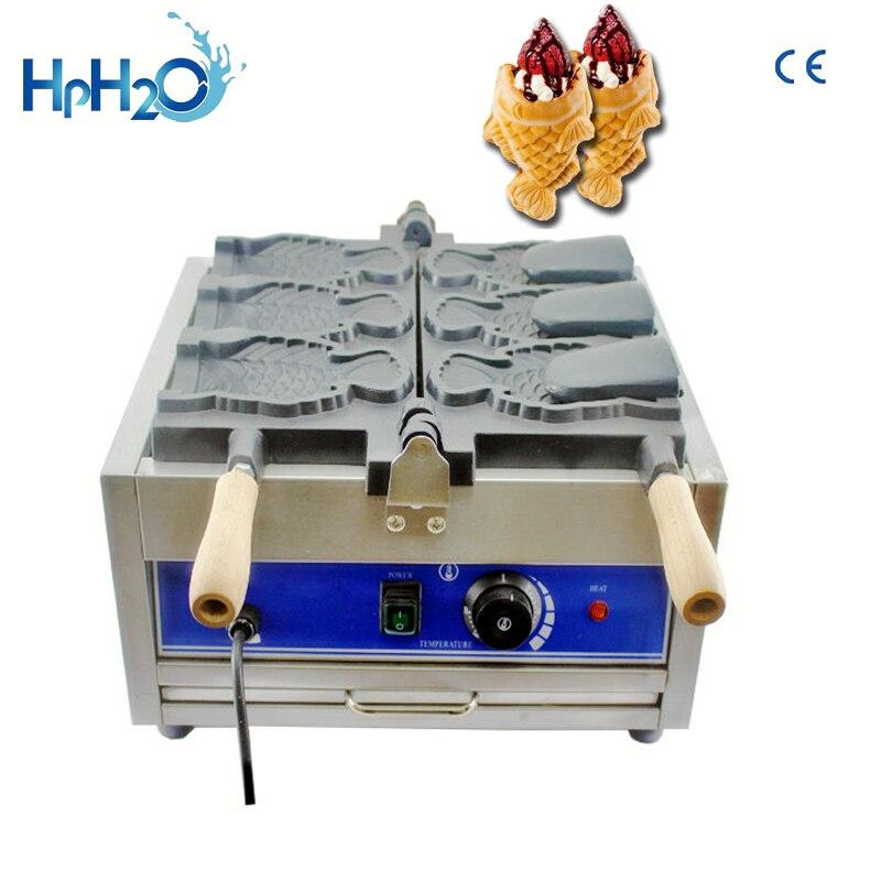 Machine commerciale de crème glacée de bouche ouverte électrique de 3 pièces taiyaki machine de fabricant de cône de gaufre de forme de poisson