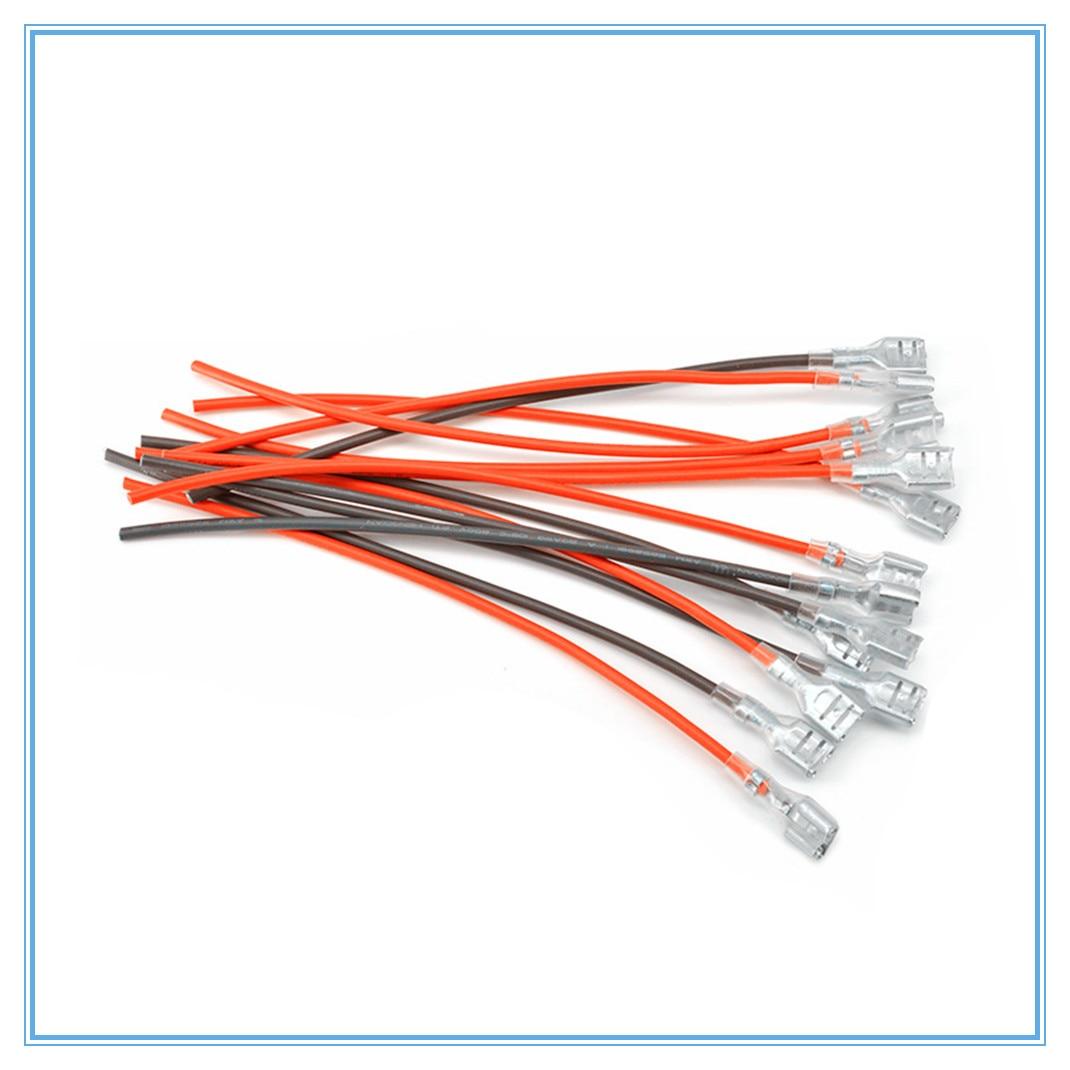 10pcs 6.3mm Crimp Terminal Splice G9 Female Spade Connector Splice With Red+Black Wire