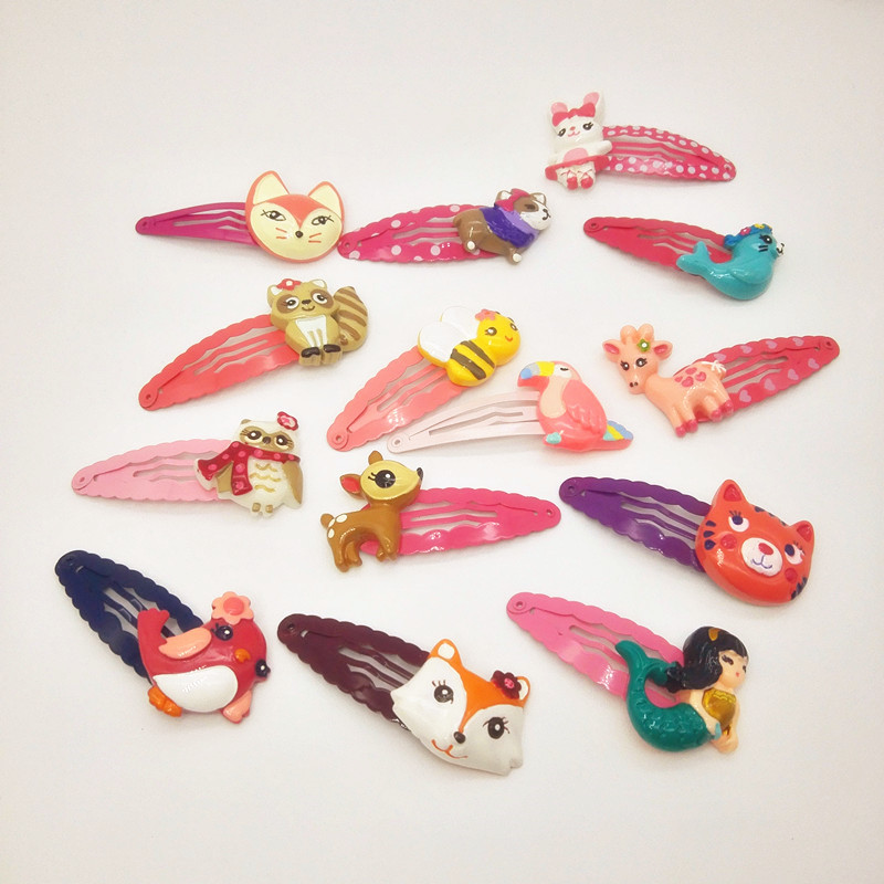 2Pcs/set kids adorable Cartoon Animal Hairpin headwear student girls flower hair clips Toddlers Barrettes Hair Accessories J24 children fashion bobby pins hairpin headwear set 6pcs set girls cartoon hello kitty fox owl cat animal bb clips hair accessories