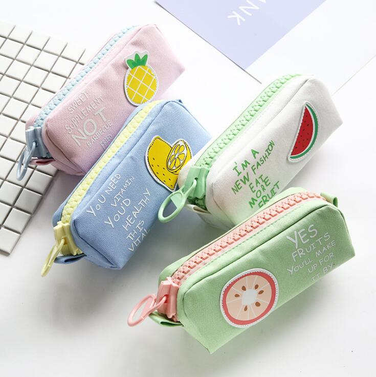 Fresh Fruit Big Zipper Canvas Large Pencil Case Stationery Storage Organizer Bag School Office Supply deli gradient candy color large capacity zipper pencil stationery case student pencil bag