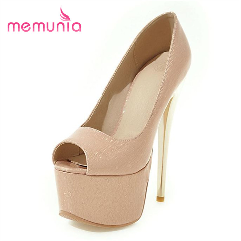 MEMUNIA High heels 16cm platform shoes peep toe elegant fashion wedding shoes women pumps big size 34-48 solid shallow single lasyarrow brand shoes women pumps 16cm high heels peep toe platform shoes large size 30 48 ladies gladiator party shoes rm317