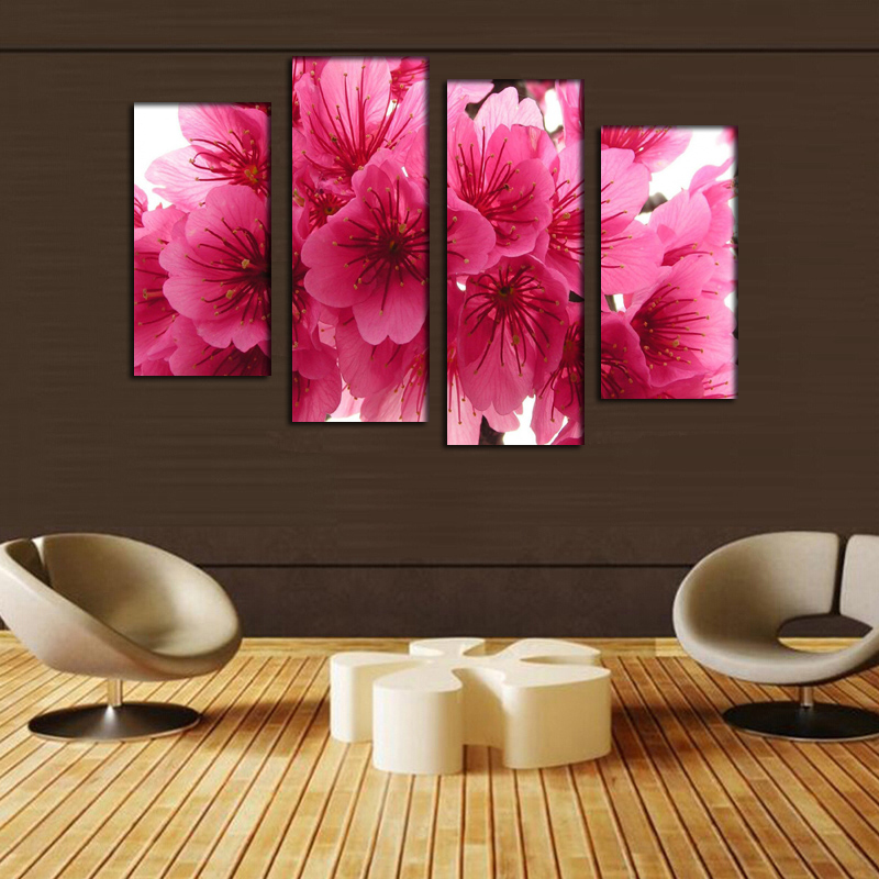 Hot Sale Pink Flower Canvas Painting Pictures On The Wall