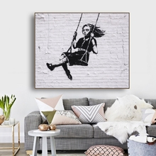 Swinger Girl by Banksy Wall Art Decor Canvas Poster and Print Painting Decorative Picture for Living Room Home
