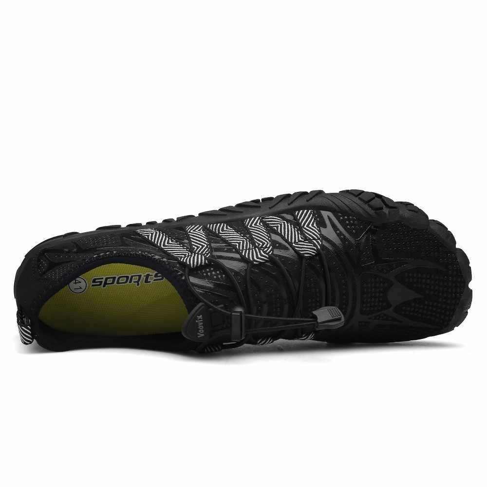 男性裸足 5 指の靴の屋外スニーカー男性上流アクア靴夏水シューズの男速ドライ川海スリッパ