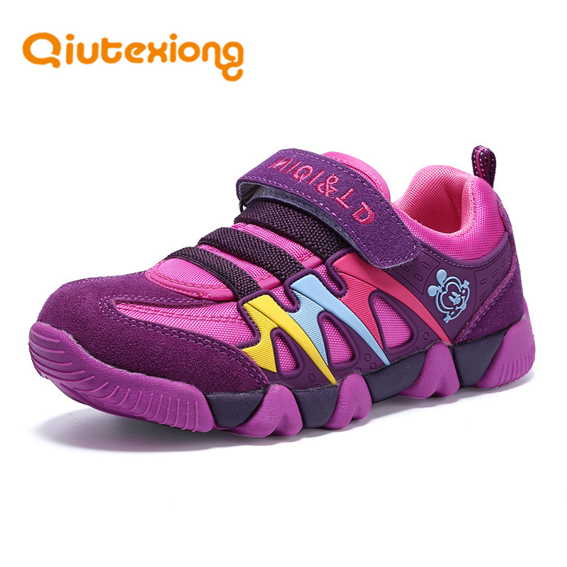 QIUTEXIONG Children Shoes Genuine Leather Kids Sneaker Girls Boys Shoes For School Sport Running Breathable Kids Shoes Footwear forudesigns kids sport shoes boys girls for children walking cycling running nebula pringting lace up sneaker shoes outdoor