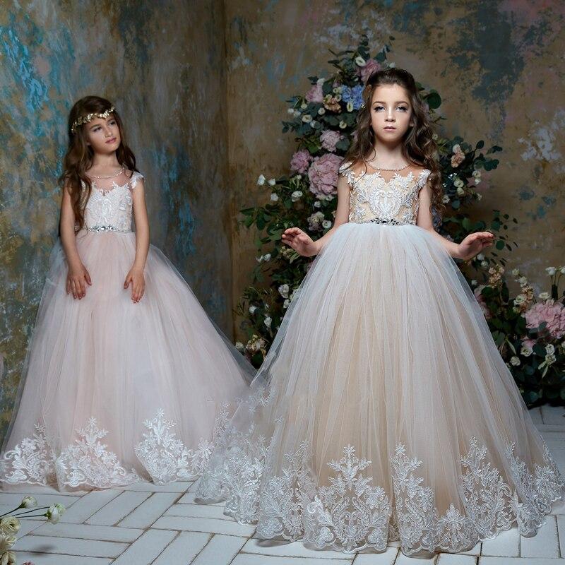 New Arrivals Flower Girls Cap Sleeves Lace Appliques Beading Sash Ball Gown Chapel Train Elegant Girls Holy Communion Dresses