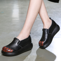 Women Leather Pumps Black Set Foot Lazy Shoes Spring 2019 Casual Pumps Women Handmade Leather Wedge Shoes Women Retro Style