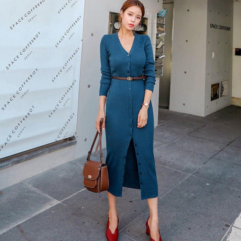Mode femmes nouveauté confortable doux rebondi base tricot longue robe tempérament frais simple chaud robe crayon cadeau une ceinture