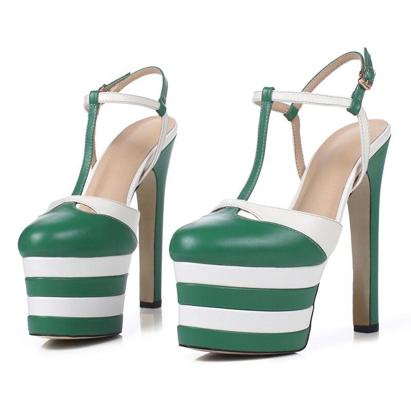 Redondo verde azul De Negro Las Pie Mstacchi Alto Fiesta Sandalias Mujer Mujeres Verano Zapatos Plataforma Del plata Moda Tacón Calzado Cuero Vaca Dedo Correa 1ddqBw