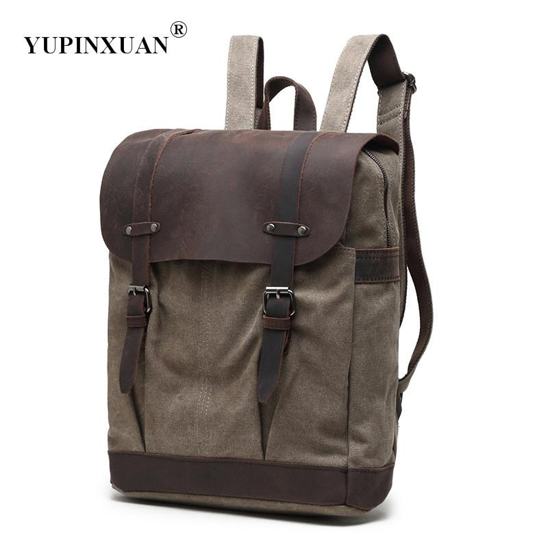 YUPINXUAN 5 Color Options Canvas+ Cow Leather Backpacks for Men Vintage 15 Laptop Computer School Bags Teenager Travel Rucksack