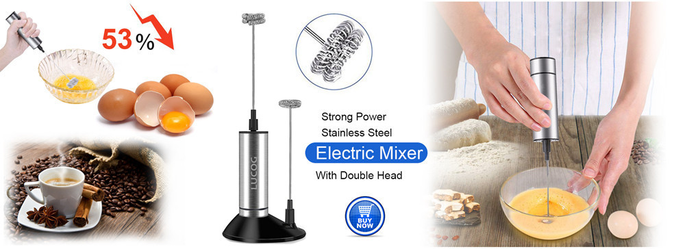 LUCOG Powerful Double Spring Whisk Electric Milk Frother Kitchen Mixer Hand Milk Foamer for Coffee Latte Cappuccino with Stand_