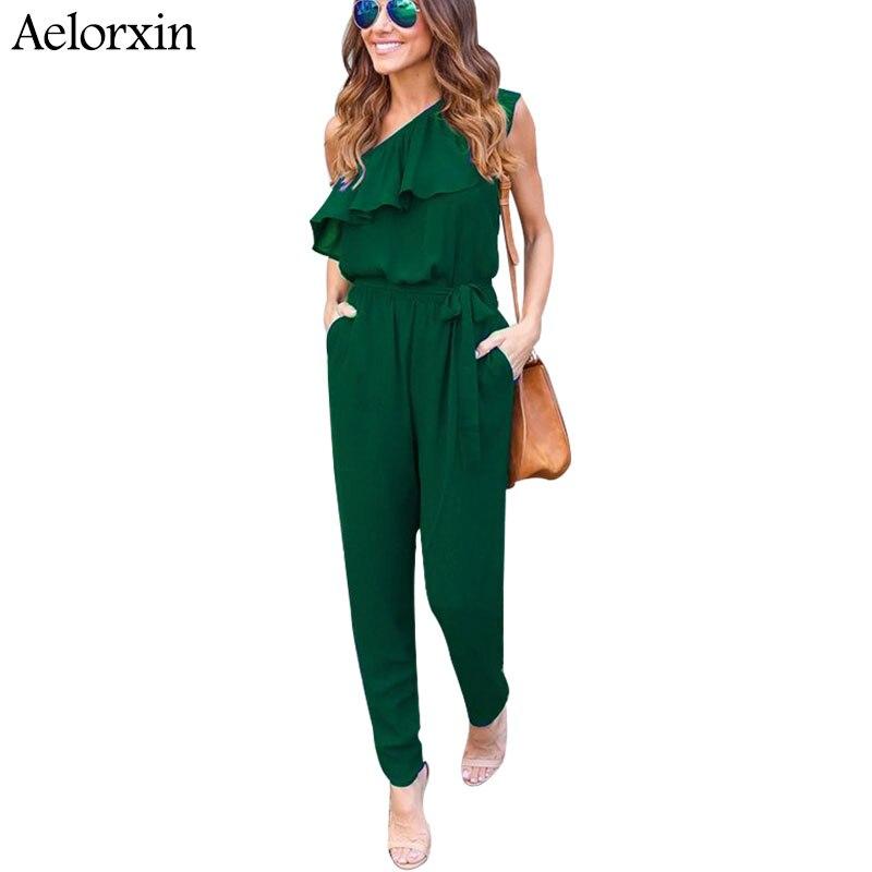 Aelorxin 2017 Sexy Bodysuit Women Summer Fitness Off Shoulder Ruffles Female Jumpsuit Rompers Chiffon Trousers Shirt