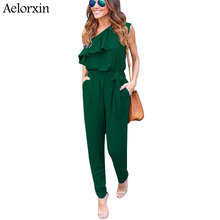 Aelorxin 2019 Sexy Bodysuit Women Summer Fitness Off Shoulder Ruffles Female Jumpsuit Rompers Chiffon Trousers Shirt Combination