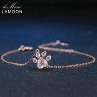 LAMOON Charms Bransoletka Paw 5X5.5mm Naturalne Różowy Serce Rose Quartz 925 Sterling Silver Fine Jewelry Łańcuch ChALkeR kobiety Bransoletki
