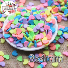 30g 3x4mm candy color polymer clay mix heart slice flat nail Art Supply Decoration Charm Craft