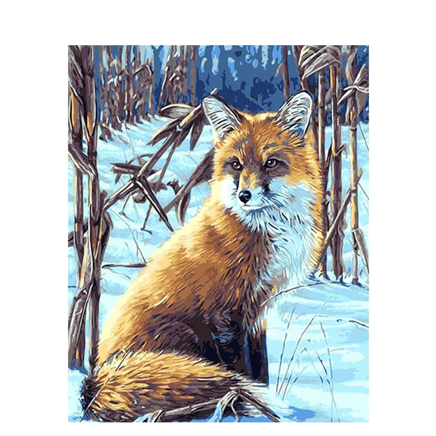 DIY Digital Painting By Numbers Package The snow fox oil painting mural Kits Coloring Wall Art Picture Gift frameless