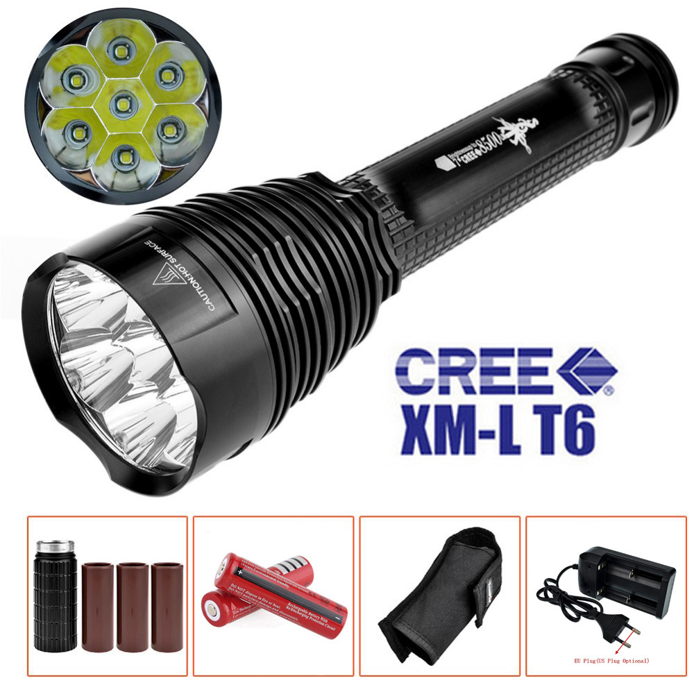 J18 LED Flashlight 7 x CREE XM-L T6 8000 Lumens Waterproof Lantern Torch 5-mode Strobe SOS Light With 18650 Battery and Charger