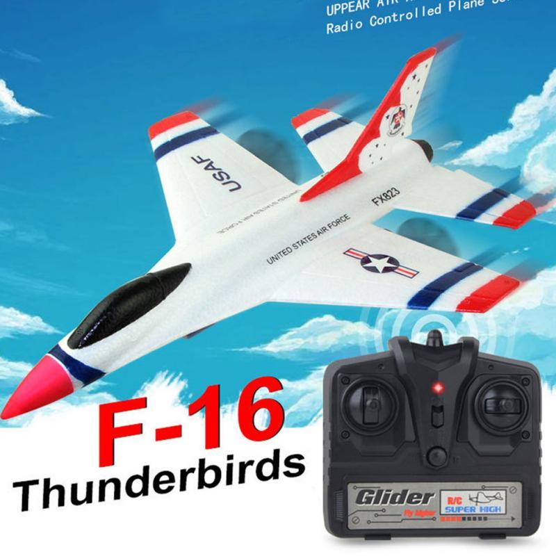 2018 New Original FOR FX-823 2.4G 2CH F16 Thunderbirds EPP Remote Control RC Glider Airplane fx 16e 300cab connection cables for fx3uc remote termi nal block 3 0m new original