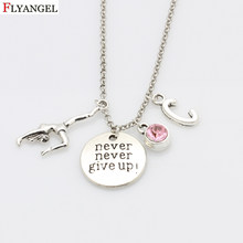 Never Never Give Up Pendant Fitness Necklace Jewelry Gymnastics Female Gym Athlete Initials Birthstone Pendant Chain Necklaces(China)